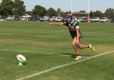 St John's Dubbo product Matt Burton attempts a sideline conversion for the Western Rams
